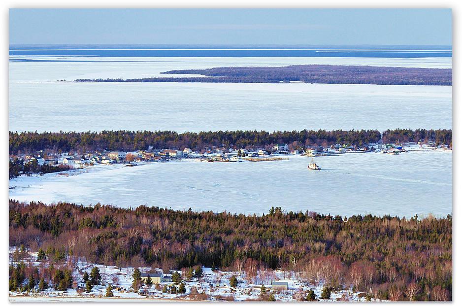 beaver island winter gas run through the ice