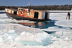Cutting through the ice was an amazing experience, with the force of the tug pwerful standing on the ice.