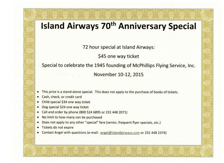 $45 ticket special at Island Airways