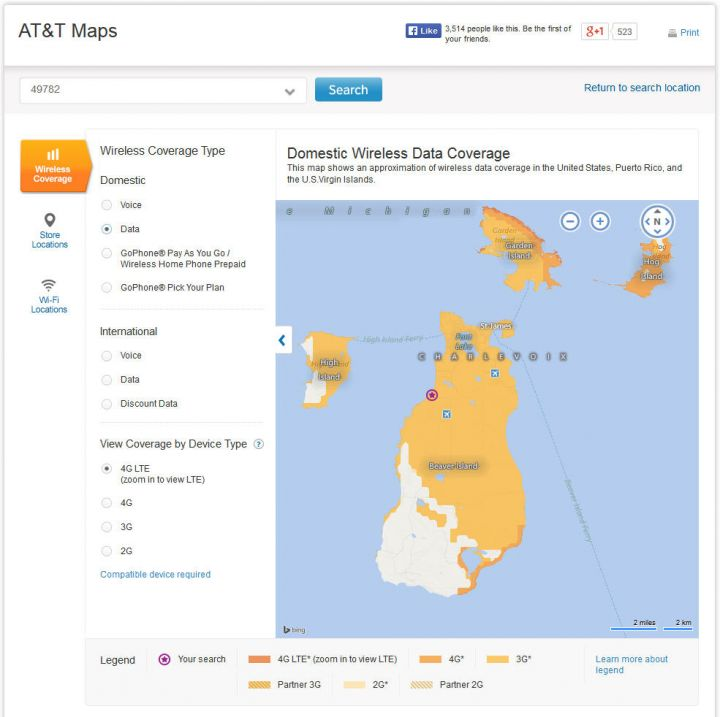ATT 2014 Beaver Island Data Coverage Map (accuracy unknown)