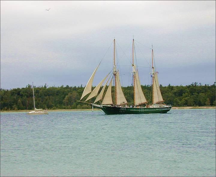 S/V Denis Sullivan sailing out of the Beaver Island Harbor